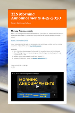 TLS Morning Announcements 4-21-2020