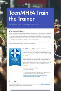 TeenMHFA Train the Trainer