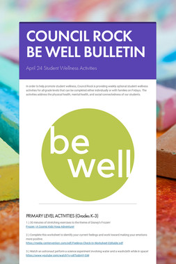 COUNCIL ROCK BE WELL BULLETIN