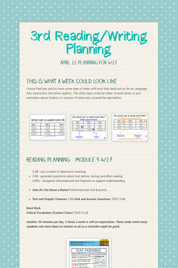 3rd Reading/Writing Planning