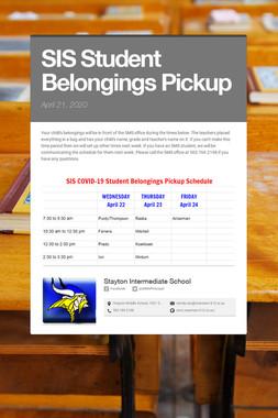 SIS Student Belongings Pickup