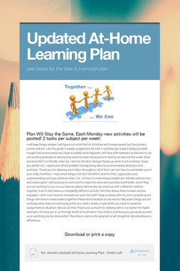 Updated At-Home Learning Plan