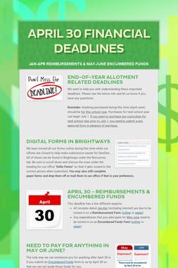 April 30 Financial Deadlines