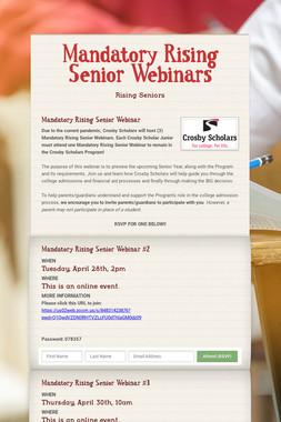 Mandatory Rising Senior Webinars