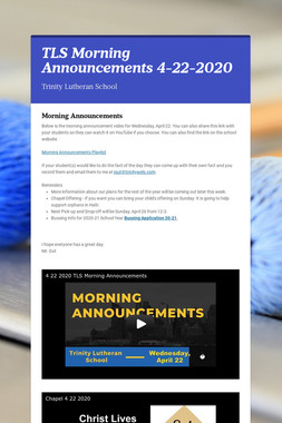 TLS Morning Announcements 4-22-2020