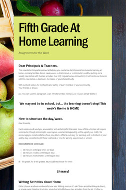 Fifth Grade At Home Learning