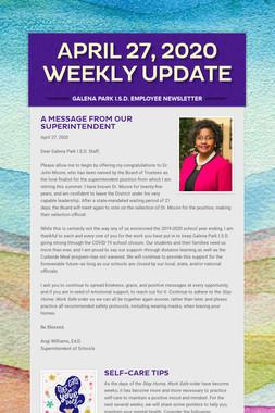 April 27, 2020    Weekly Update
