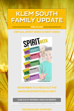 Klem South Family Update