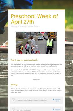 Preschool Week of April 27th