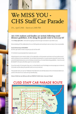 We MISS YOU - CHS Staff Car Parade