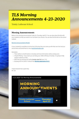 TLS Morning Announcements 4-23-2020