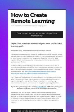 How to Create Remote Learning