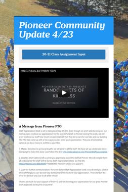 Pioneer Community Update 4/23