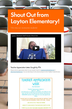 Shout Out from Layton Elementary!