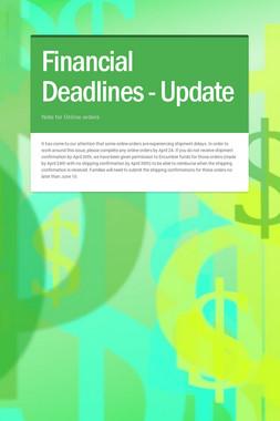 Financial Deadlines - Update
