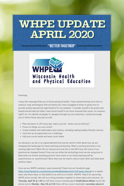 WHPE  Update April 2020