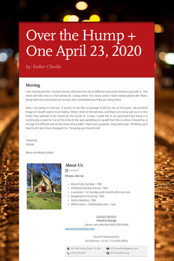 Over the Hump + One  April 23, 2020