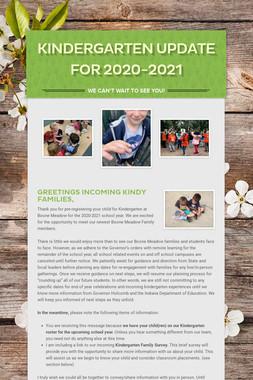 Kindergarten Update for 2020-2021