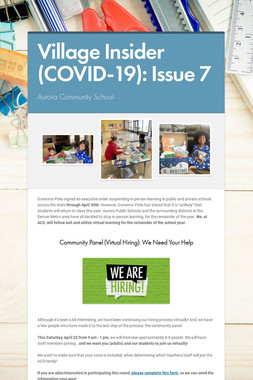 Village Insider (COVID-19): Issue 7