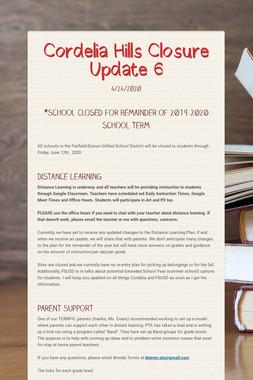 Cordelia Hills Closure Update 6
