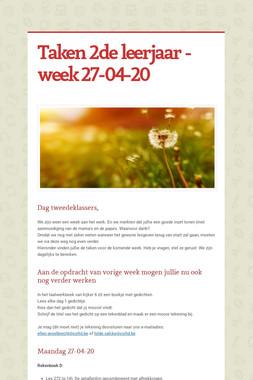 Taken 2de leerjaar - week 27-04-20