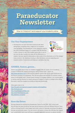 Paraeducator Newsletter