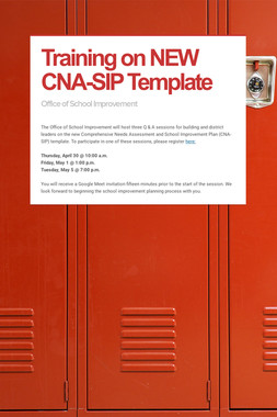 Training on NEW CNA-SIP Template
