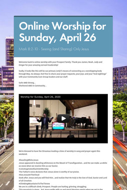 Online Worship for Sunday, April 26