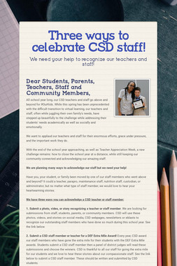 Three ways to celebrate CSD staff!