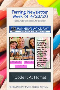 Fanning Newsletter Week of 4/26/20