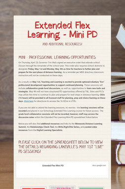 Extended Flex Learning - Mini PD