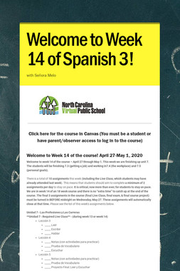 Welcome to Week 14 of Spanish 3!