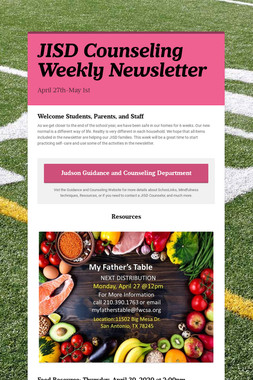 JISD Counseling Weekly Newsletter