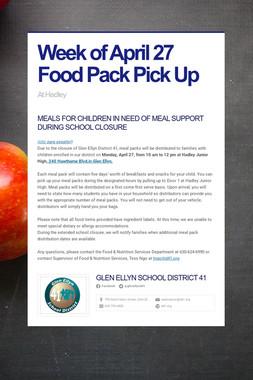 Week of April 27 Food Pack Pick Up