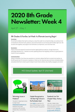 2020 8th Grade Newsletter: Week 4