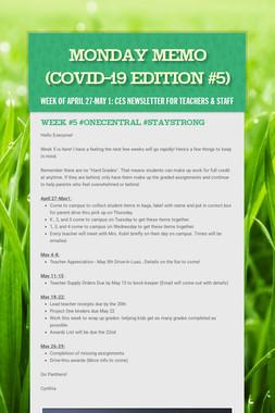 Monday Memo (COVID-19 Edition #5)