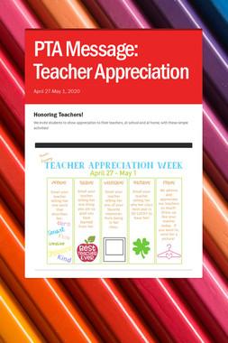 PTA Message: Teacher Appreciation