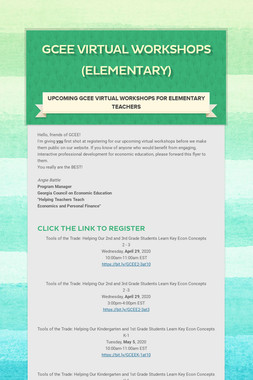 GCEE Virtual Workshops (Elementary)