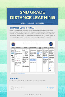 2nd Grade Distance Learning