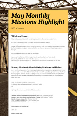 May Monthly Missions Highlight
