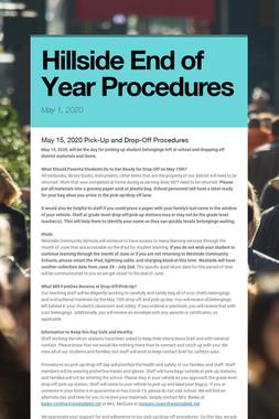Hillside End of Year Procedures