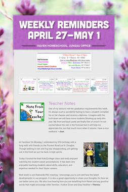 Weekly Reminders April 27-May 1
