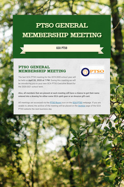 PTSO General Membership Meeting