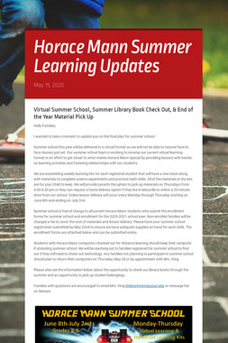 Horace Mann Summer Learning Updates