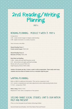 2nd Reading/Writing Planning