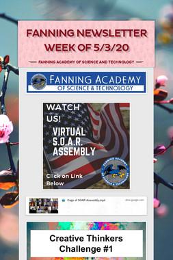 Fanning Newsletter Week of 5/3/20
