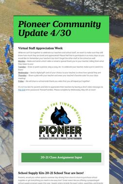 Pioneer Community Update 4/30