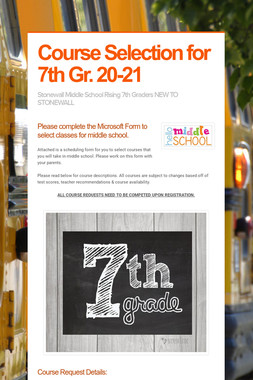 Course Selection for 7th Gr. 20-21