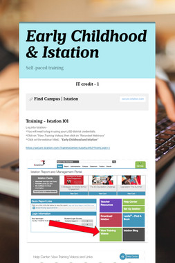 Early Childhood & Istation