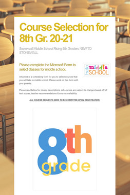 Course Selection for 8th Gr. 20-21